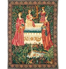 """Rencontre A La Fontaine French Tapestry Wall Hanging H 56"""" x W 42"""""""