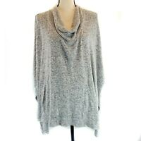 Dream Investor Womens Sweater Size 2XL Gray Heather Poncho 3/4 Sleeve Cowl Neck