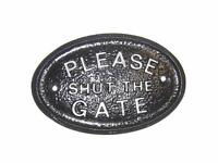 SILVER PLEASE SHUT THE GATE GARDEN/GATE WALL PLAQUE / SIGN WITH RAISED LETTERS