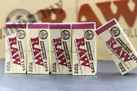 5 PACKS OF AUTHENTIC RAW ROLLING PAPER WIDE TIPS FILTER (50 Sheets per pk)