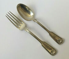 """Antique Tiffany """"Shell and Thread"""" Pattern Fork And Spoon Set Sterling Silver"""