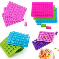 Pack of 3 Silicone Gummy Bear Molds 53 Cavities Maker Tray - ONE BONUS DROPPER