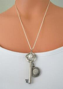 Antique SKELETON KEY w/PEARL & LOCKET PENDANT on Sterling SILVER Chain NECKLACE