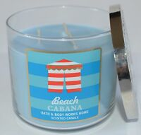 BATH & BODY WORKS BEACH CABANA SCENTED CANDLE 3 WICK 14.5 OZ LARGE BLUE JASMINE