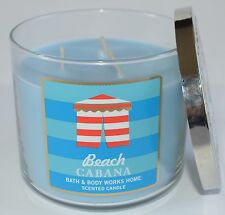 BATH & BODY WORKS BEACH CABANA SCENTED CANDLE 3 WICK 14.5 OZ LARGE BLUE JASMINE