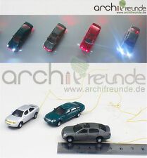 3 x Modell Autos LED beleuchtet Modellbau 1:87/1:100 Modelleisenbahn Spur H0/TT