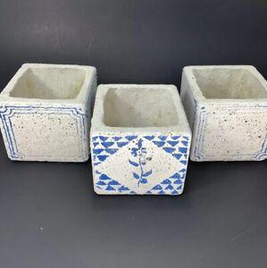 """3 Pcs Stone Concrete Square Cactus Plant Containers Succulent Planter 3""""x3"""""""