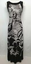 Roman Dress | Size 12 | Black White | Maxi | Floral Lines Silhouette Stretch
