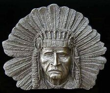 AWESOME SITTING BULL CHIEFS HEAD BELT BUCKLE LARGE NEW!