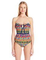 Nanette Lepore Wom Carnaval Seductress Bandeau One Piece Swimsuit, Multi, XS