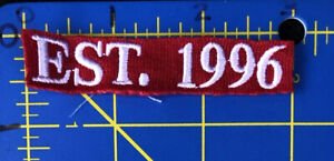 Est. 1996 Embroidered Logo Patch Established '96 Red White 96