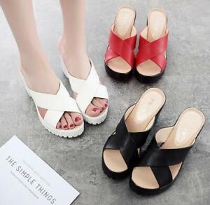Womens Peep Toe Mules Ladies Block High Heel Sandals Wedge Slippers Shoes Size
