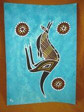 AUS-9 Kangaroo teal blue Australian Native Aboriginal PAINTING Artwork T Morgan