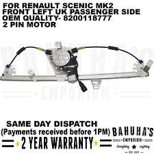 WINDOW REGULATOR- FOR RENAULT SCENIC MK2 2003>ON FRONT LEFT SIDE W/ 2 PIN MOTOR