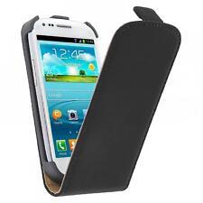 funda cuero +protector movil smartphone samsung S3 mini I8190 I8200 blanco negro