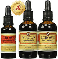 J.CROW'S® Lugol's Solution of Iodine 5% 1 oz + 2% 2 oz Twin Pack (2 bottles)