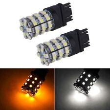 10X 3157 60SMD Rear Brake Lights Switchback White Amber Turn Signal LED Bulbs