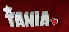 Beton, Steinguss Buchstaben 3D Deko Namen TANIA als Geschenk verpackt!