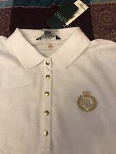 BNWT Ralph Lauren white polo top Size XL women's gold embroidered monogram crest