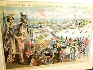 SUPER RARE 1893 WORLD'S COLUMBIAN EXPOSITION COLOR LITHOGRAPH FRAMED UNCLE SAM