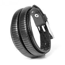 Leather Bracelet Black Bracelet Surfer Cuff Leather Black Buckle