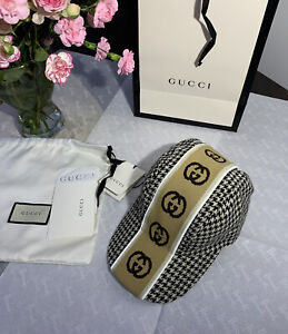 Gucci 100% Genuine GG Intarsia Stripe Wool Baseball Cap NEW WITH TAGS RRP £375