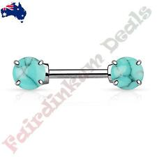 Nipple Barbell with Prong Set Turquoise Semi Precious Stone Ends