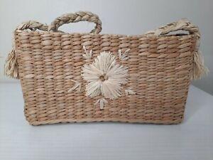 "Vintage 90s Esprit Woven Straw Basket Handbag Bag Purse Mini Tote 9"" x 5"" Flower"