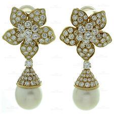 VAN CLEEF & ARPELS 7 Carat Diamond South-Sea Pearl 18k Gold Flower Earrings