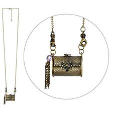 3D Antique Brass Vintage Style Bag Pendant Necklace - Joe Cool Jewellery Gold