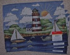 SET OF 4 TAPESTRY PLACE MATS/NAUTICAL/SAILBOAT/LIGHTHOUSE/BLUES/ NWT