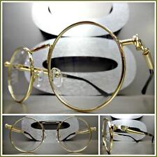 Men or Women CLASSIC VINTAGE RETRO Style Clear Lens EYE GLASSES Round Gold Frame