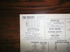 1962 Mercury EIGHT Series Monterey Models 390 CI V8 Tune Up Chart