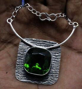 925 Sterling Silver Green Peridot Gemstone Handmade Jewelry Necklace Size-17-18