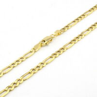 "10K Yellow Gold 3.5mm Figaro Chain Link Pendant Necklace Mens Women 24"" 24in"