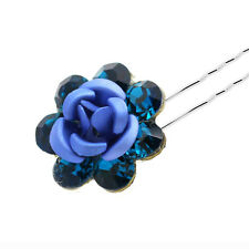 Wedding Decoration Bridal Blue & Turquoise Rose Hair Pin Accessories HA242