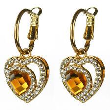 Boucles d'oreilles créoles plaqué or coeur doré  cristal Swarovski jaune orange