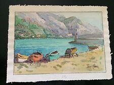 Watercolour of Menton, by Pierre Cedric, c.1950s.
