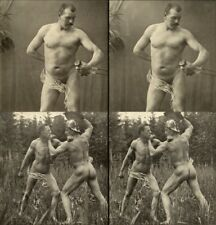18 artful Stereoviews french Nude men Maenner Bodybuilding 1910 France - Paris