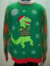 JOLLY SWEATERS Large L Dinosaur Ugly Christmas Sweater Combine ship Discount