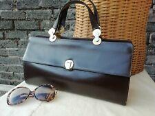 "Vintage Original Late 60s Lge Brown Genuine Leather Grab Bag. 13""  Superb."
