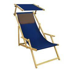 Chaise de Jardin Bleu Lit Soleil Plage Toit Ouvrant Longue 10-307 N S Kd