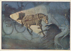 Cecil Aldin Vintage Antique Art Print-Color-Black Beauty-Horses-1930-Branch Fell