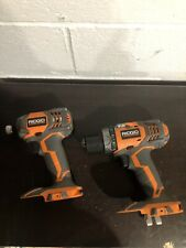 RIDGID 18v Cordless Drill & Impact Driver Model# R86034 & R86008 Bare Tools