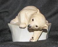 """Vtg 1982 WWF Polar Bear Figurine Brrrrr! Eva Dalberg Porcelain 4"""" Tall EUC"""