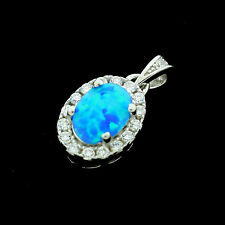 Sterling Silver Cubic Zirconia Micro Pave Set Opalite Pendant +Chain