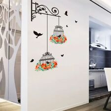 1PC Removable Flower Birdcage Wall Sticker Birds Plants Home Decals Room Decor