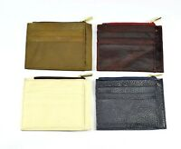 Genuine Leather Credit Card Holder 8 Slots Zipper Coin Bag Black Red Brown Cream