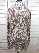 Orvis Zebra Print Wrap Blouse Womens Large Brown White Top Casual Ladies Shirt