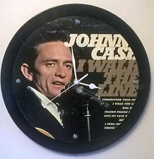 "Johnny Cash I walk the Line Album Clock 11.5"" round battery operated"